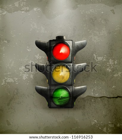 Traffic Lights, old-style vector