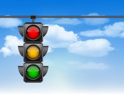 Traffic lights with all three colors on hanging against blue sky with clouds. Photo-realistic vector illustration