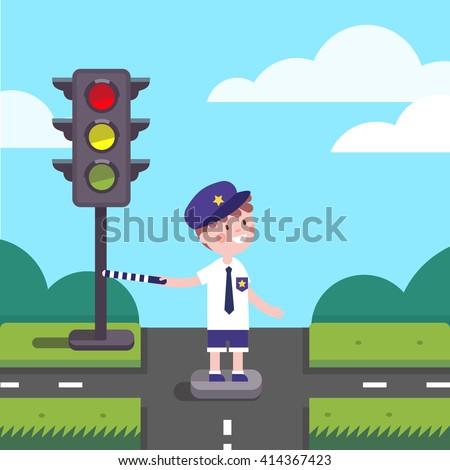 traffic officer cop kid working