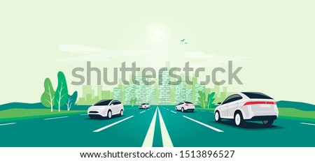 Traffic on the highway panoramic perspective horizon vanishing point view. Flat vector cartoon style illustration urban landscape motorway with cars, skyline city buildings and road going to the city.