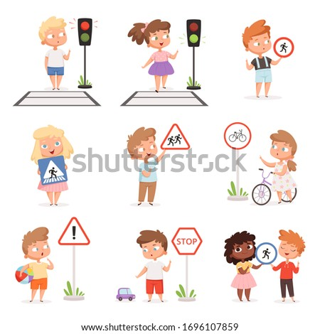 Traffic road education. School kids learning safety crossroad walking traffic lights and signs vector illustrations set