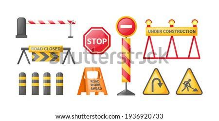 Traffic road repair barriers set. Safety barricade, roadblocks, warning alert signs. Construction fences, warning detour, repair hurdle, safety barricade warning for city street repair works vector Сток-фото ©
