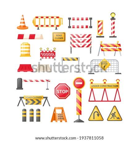 Traffic road repair barriers set. Safety barricade, roadblocks, warning alert signs. Construction fences, warning detour, repair hurdle, safety barricade warning for city street repair works vector