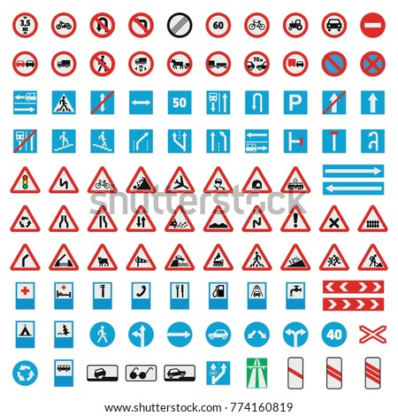 Traffic road sign collection icons set. Flat illustration of 100 Traffic road sign collection vector icons for web #774160819
