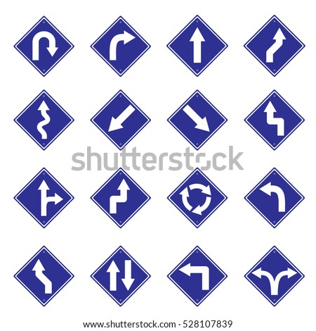 traffic sign blue road sign icon set vector Illustration