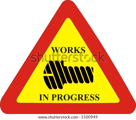 traffic sign, construction site and works are in progress, industrial vector ilustration