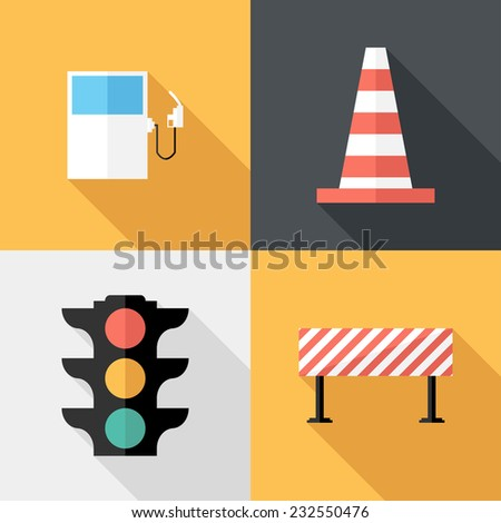 traffic sign icons flat design