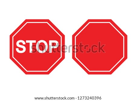 Traffic sign stop and Blank Stop Sign. Vector illustration. on white background