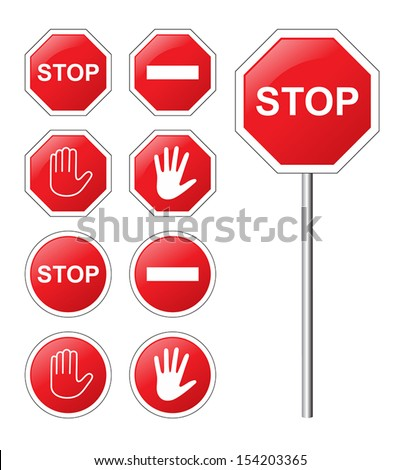 traffic sign stop set.