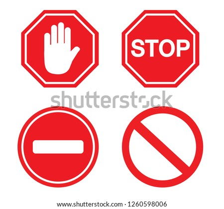 Traffic sign stop set. Vector illustration. on white background