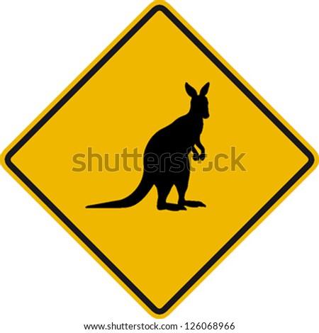traffic sign wildlife kangaroo