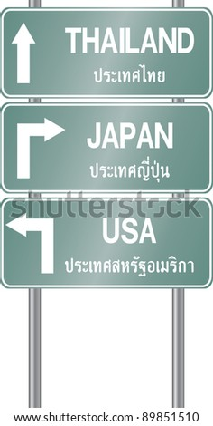 Traffic sign with Thai and English Character