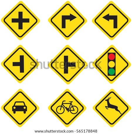 traffic sign Yellow