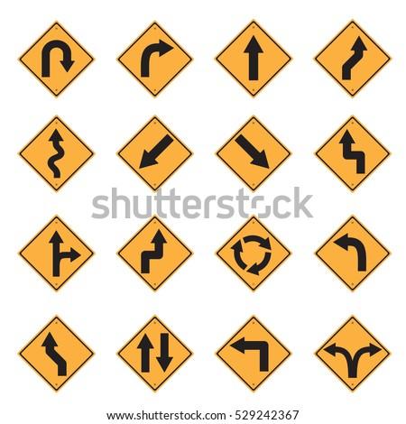 traffic sign yellow road sign icon set vector Illustration