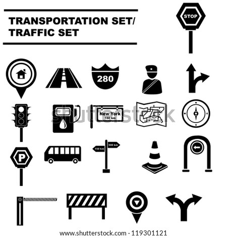 traffic signals set, transportation icon set