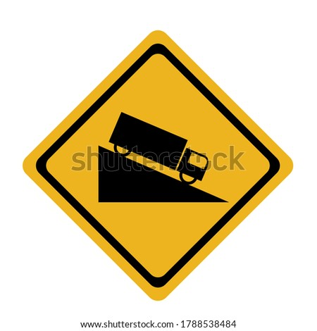 Traffic signs, black signs on a yellow background.Sign of the way down the steep slope.Rough road sign.Drive slowly and be more careful.  Stockfoto ©