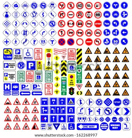traffic signs group vector illustration #162268997