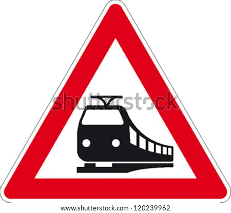 traffic signs train tracks - stock vector