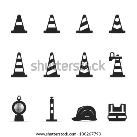 Traffic warning sign icon set in single color.Transparent shadows placed on layer beneath. Foto stock ©