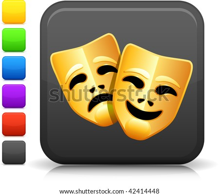 Tragedy and comedy Mask icon on square internet button  Six color options included.