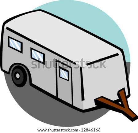 Trailer Mobile Home Stock Vector Illustration 12846166 : Shutterstock