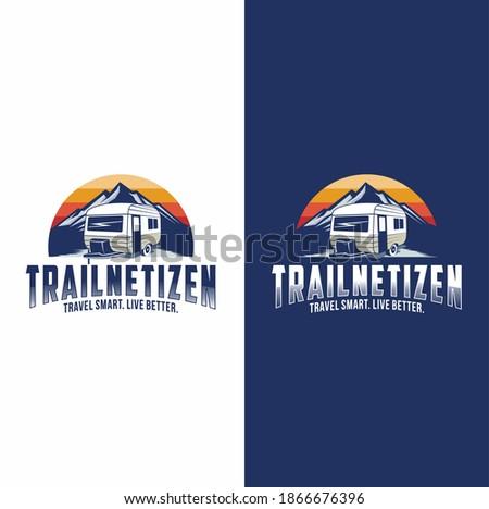 Trailer or van park vector logo template. Travel icon Stok fotoğraf ©