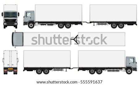 Trailer truck vector mock up for advertising, corporate identity. Isolated template of the box truck on white. Vehicle branding mockup. Easy to edit and recolor. View from side, front, back and top.