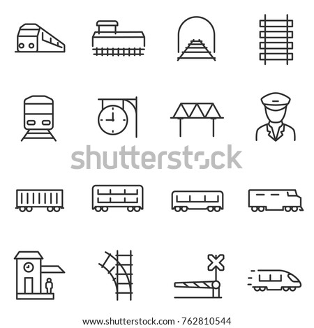 train and railways icon set
