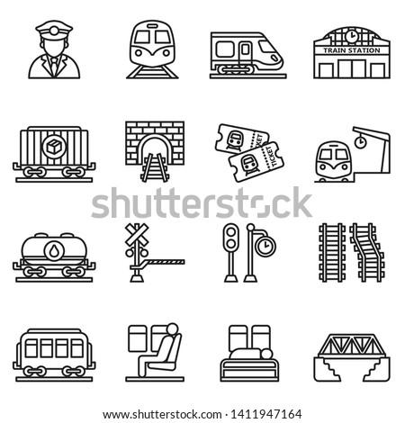 train and railways icon set