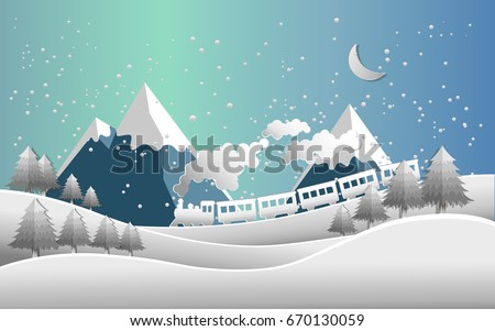 Train and snow landscape. vector illustration of snow. paper art style
