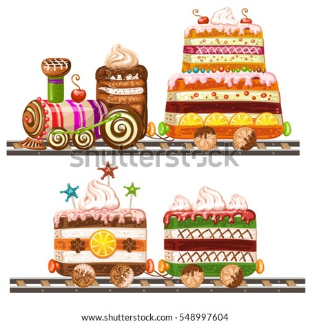 train cake with happy birthday