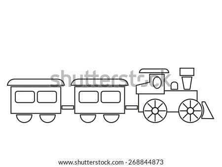 train  coloring book  vector
