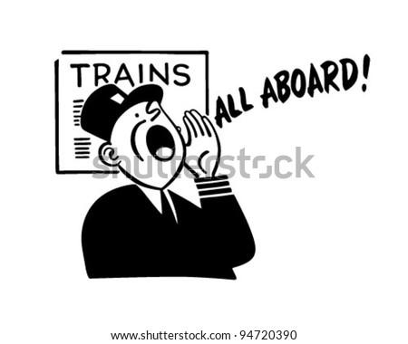 Train Conductor - Retro Clipart Illustration - stock vector