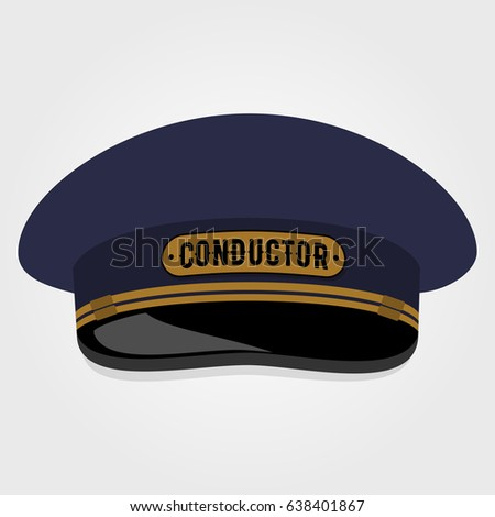 Train conductor's cap. Flat style design