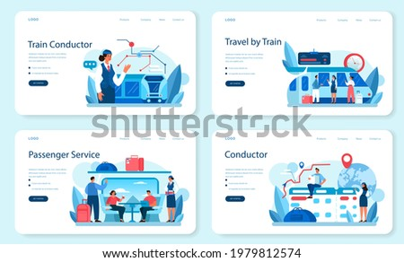 Train conductor web banner or landing page set. Railway worker in uniform on duty. Train attendant help passenger in journey. Traveling by train. Flat vector illustration Foto stock ©
