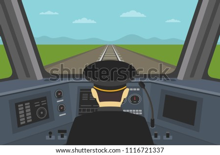 Train driver sitting in cabin of a modern train. Interior control place of train. Inside view. Flat vector illustration of dashboard.