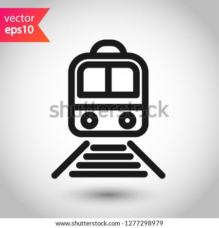 Train icon. Subway line icon. Metro symbol. Locomotive vector sign. Train outline vector icon. EPS 10. Public transport icon