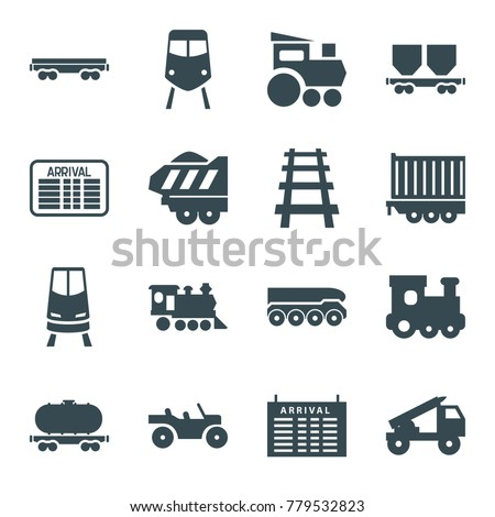 Train icons. set of 16 editable filled train icons such as arrival table, cargo wagon, locomotive, railway, cargo trailer, truck rocket