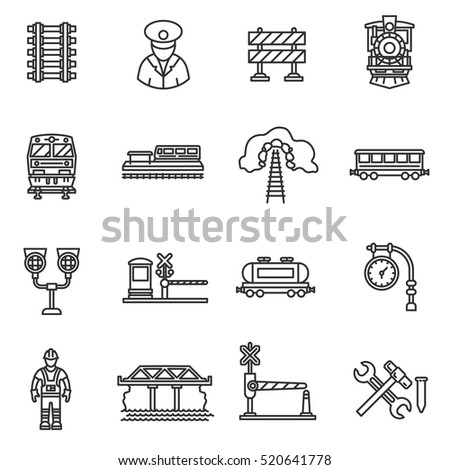 train icons set railway  thin