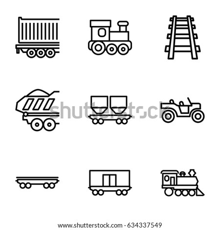 Train icons set. set of 9 train outline icons such as train toy, cargo wagon, locomotive, railway, cargo trailer