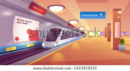 Train in metro station, empty subway platform, underground interior with map and ads banners. Modern metropolitan, railroad urban transportation background, public railway. Cartoon vector illustration