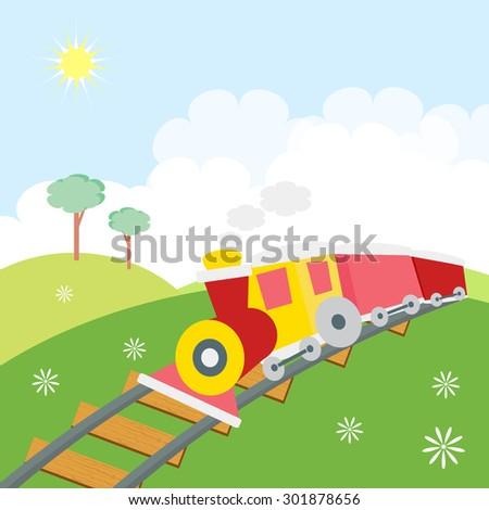 train in the green landscape