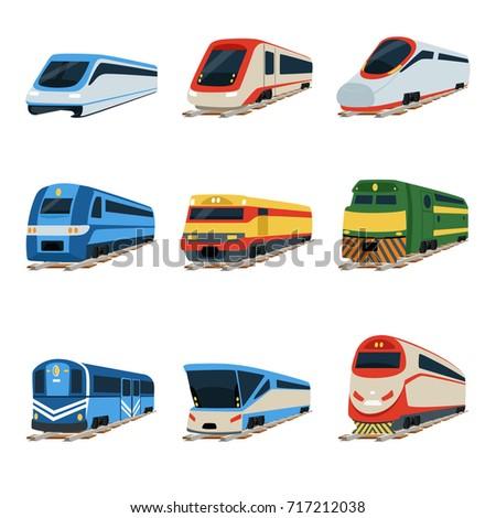 Train locomotive set, railway carriage vector Illustrations