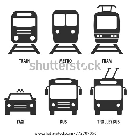 Train, metro, tram, bus, trolleybus, taxi. Set of passenger transport vector icons. Black symbols isolated on white. Signs for public transport stops and schemes.