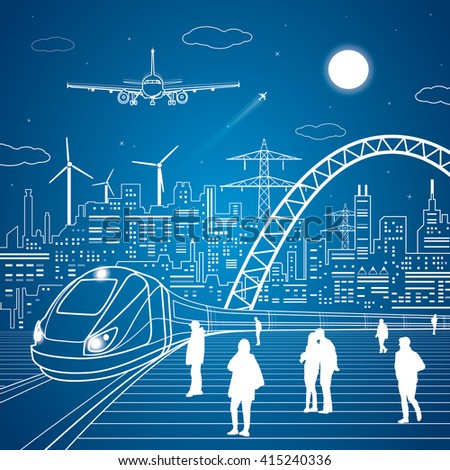Train move, railway station, people waiting for the train, industrial and transport illustration, city infrastructure on background and big bridge, plane, vector design art
