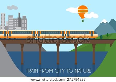 train on railway and bridge