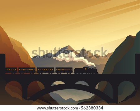 Train on railway bridge with outdoor landscape in orange and yellow sunset, dawn sun. Vector travel concept background. Train outdoor, transportation, travel. Vector illustration.