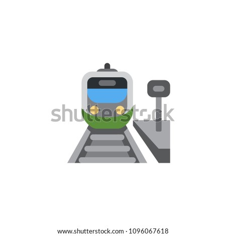 Train, Railway, Railroad Station vector illustration flat icon symbol cartoon style emoticon