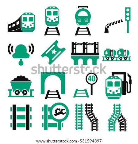 train, railway ,underground icon set