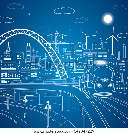 Train rides on the bridge, night city, white lines on blue background, town transportation infrastructure, vector design art stock photo